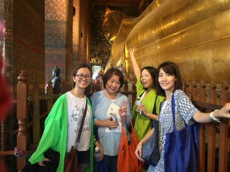 With friends and the lying Buddha
